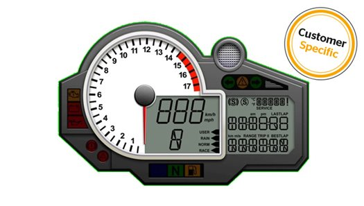 Electronic Instrument Cluster for 2-Wheelers > 500cc